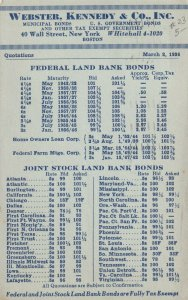 NEW YORK CITY, PU-1936; Webster, Kennedy & Co., Inc., Bank Bonds