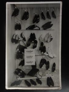 SHOES - Womens Shoe Shop Display RP Old Postcard