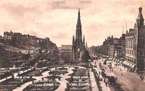 Scotland, UK Old Vintage Antique Post Card Princes Street Looking West Edinbu...