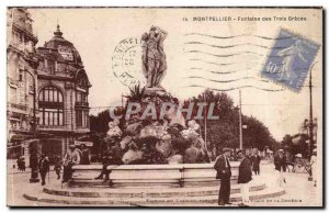 Montpellier Old Postcard Fountain of Graces TRois