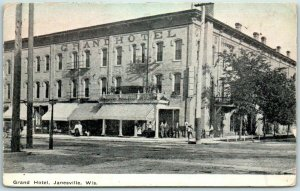 Janesville, Wisconsin Postcard GRAND HOTEL Downtown Street View w/ 1909 Cancel