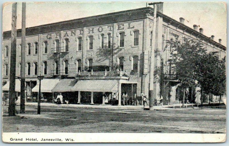 Janesville, Wisconsin Postcard GRAND HOTEL Downtown Street View w/ 1909 Cancel