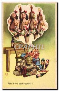 Old Postcard Reve d & # 39A & # 39ivresse Night Dancers nude Women Humor