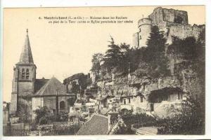 Maisons Dans Les Rochers Au Pied De La Tour Carree Et Eglise Paroissiale, Mon...