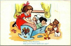 Vintage DUTCH Holland Greetings Postcard Dolls in Rocking Cradle / Teddy Bear