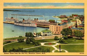 Michigan Mackinac Island Harbor Sceene From The Old Fort 1953 Curteich