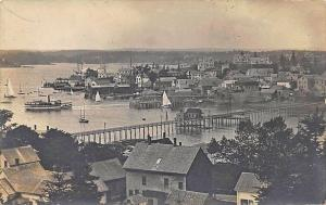 Aerial View Wooden Bridge And Downtown Boothbay Harbor ME Sail Boat RPPC