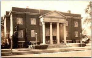 MARSHALLTOWN, Iowa RPPC Photo Postcard FIRST FRIENDS CHURCH Street View 1940s
