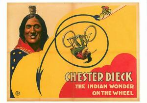 Chester Dieck Native American Bicycle Acrobat Circus Act Modern Postcard