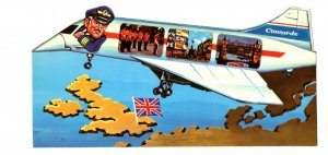 Concord Airplane, Pilot, UK Scenes, Map, Flag, Vintage Novelty Shaped Postcard