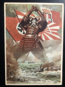 Original Mint WW2 Italy Propaganda Picture Postcard The Axis powers