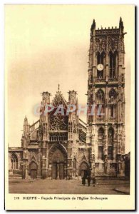 Old Postcard Dieppe Main Facade of St Jacques & # 39Eglise