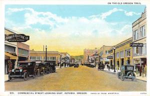 Astoria Oregon Commercial Street Looking East Antique Postcard (J17601)