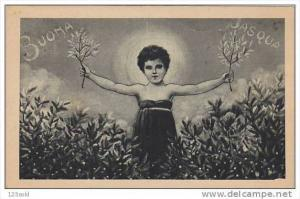 Easter Greetings - Buona Pasqua Girl w branches - 20s