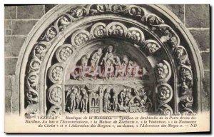 Postcard Old Vezelay Basilica De La Madeleine tympanum and archivolt of the r...