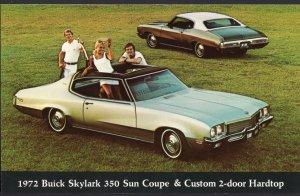 Car Dealer Postcard 1972 BUICK Skylark 350 Sun Coupe Custom 2-door Hardtop