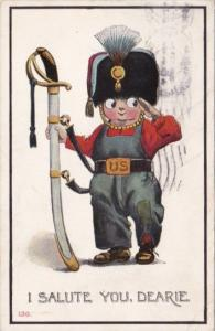 Humour Young Boy In Uniform With Swword I Salute You Dearie 1912