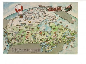 Large 5 X 7 inch Canadian Pictorial Map Canada, Hot Air Balloons, Airplanes
