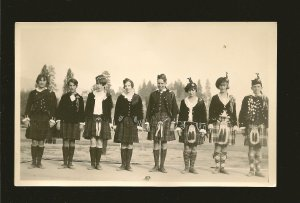 Young People in Scottish Dress Kilts Made in Canada Real Photo Postcard