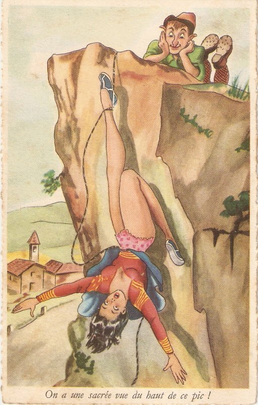 A very good view from the top Humorous antique French postcard