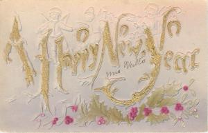New Year~Lil Angels Fly Over Letters~Horseshoes~Gold~Airbrushed~Emboss~Germany