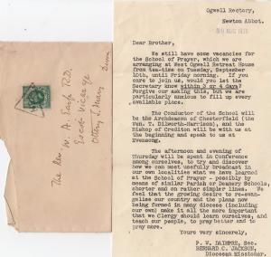 Newton Abbot Rectory West Ogwell Devon Retreat Letter & Cover