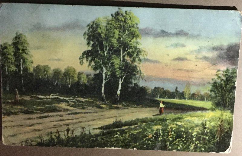 Old Postcard Woman In Meadow with Beautiful Sunrise, Scenic Card