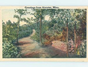 W-Border GREETINGS FROM POSTCARD Atwater Minnesota MN ho6021