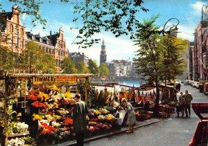 Netherlands Amsterdam Flower Market with Minttower Postcard