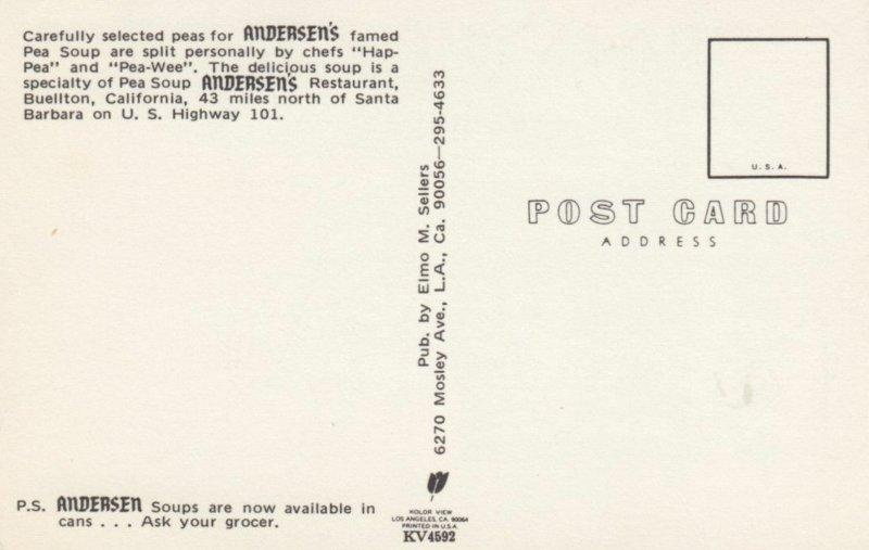 BUELLTON , California , 1940-50s ; Pea Soup, Andersen's Restaurant, version 2
