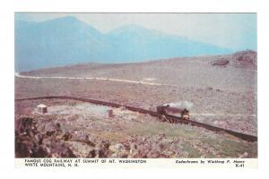 Cog Railway Summit Mt Washington White Mountains NH Vintage Postcard