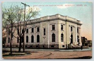 Newport News Virginia~Post Office~Federal Custom House~Man on Corner~1910 PC