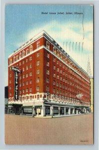 Joliet IL-Illinois, Hotel Louis Joliet, Advertising Linen c1948 Postcard