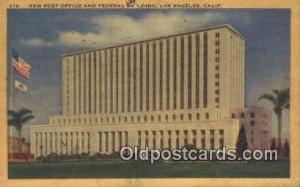 Los Angeles, CA USA,  Post Office Postcard, Postoffice Post Card Old Vintage ...