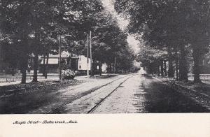 Maple Street, Street Car Railway, BATTLE CREEK, Michigan, 00-10s