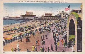New Jersey Atlantic City Beach And Boardwalk At Million Dollar Pier 1938