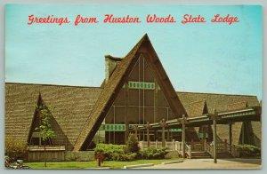 Ohio~Route #732~Hueston Woods Lodge Roadside Motel~Main Entrance~c1950 Postcard
