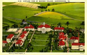 VA - Harrisonburg. Madison College, Aerial View