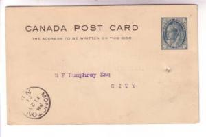 1901 CDS Cancel, Moncton, New Brunswick Victoria Postal Stationery, Looking F...