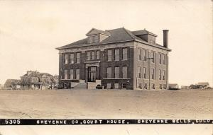 Cheyenne Wells CO~County Court House~Homes Behind~Went for Joy Ride~c1912 RPPC