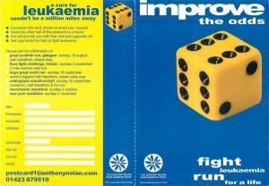Improve the odds dice fight leukaemia Bone Marrow Trust postcard