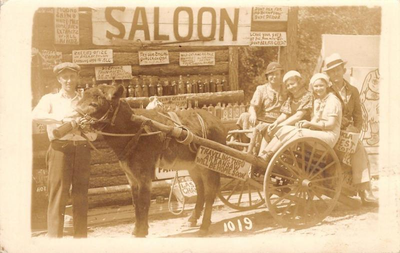 Hot Springs AR 3 Young Gals on Mule Rickshaw~Moonshine Saloon~RPPC 1935 Postcard
