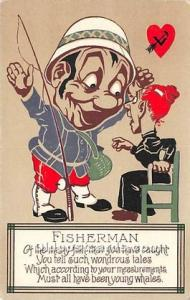 Vinegar Valentine Post Cards, Old Vintage Antique Postcards Fisherman Unused