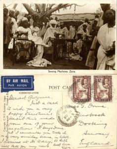 nigeria, ZARIA, Native Men behind Sewing Machines (1936) RPPC Stamps Postcard