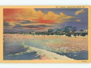 Unused Linen SUNSET ON ROLLERCOASTER AT BEACH Jacksonville Beach FL d7252