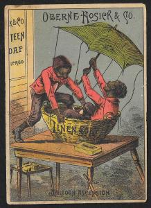 VICTORIAN TRADE CARD Oberne Hosick Linen Soap Two Black Men in Balloon Ascension