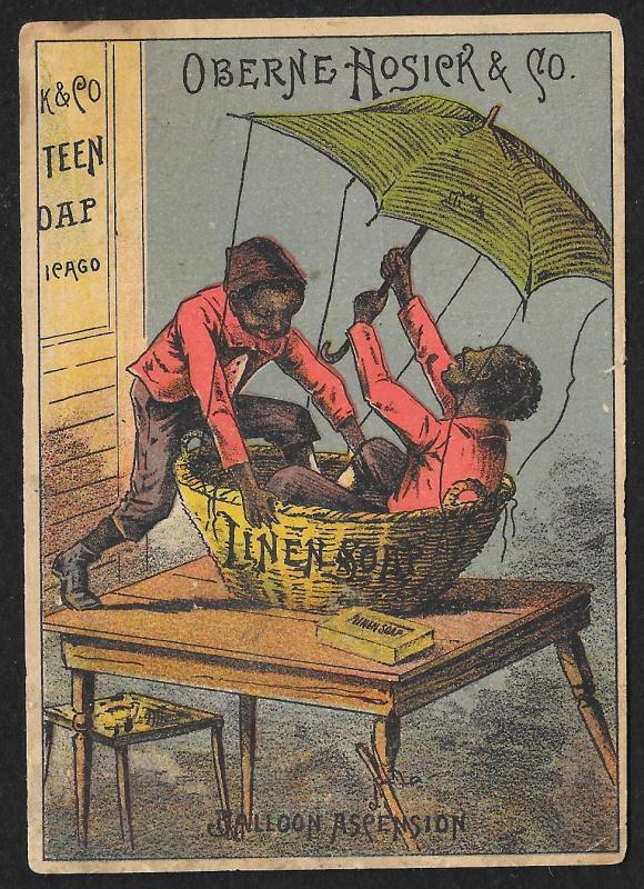 VICTORIAN TRADE CARD Oberne Hosick Linen Soap Two Black Men in Balloon Ascension