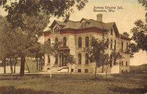 Mauston Wisconsin~Juneau County Jail~1908 Handcolored Postcard