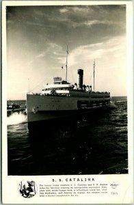 1940s California RPPC Photo Postcard S.S. CATALINA Steamer Ferry Boat Frasher