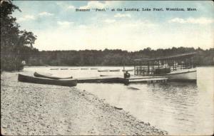 Wrentham MA Steamer Pearl at the Landing c1910 Postcard #2